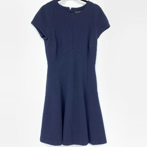 Banana Republic Navy Blue Textured Fit Flare Dress